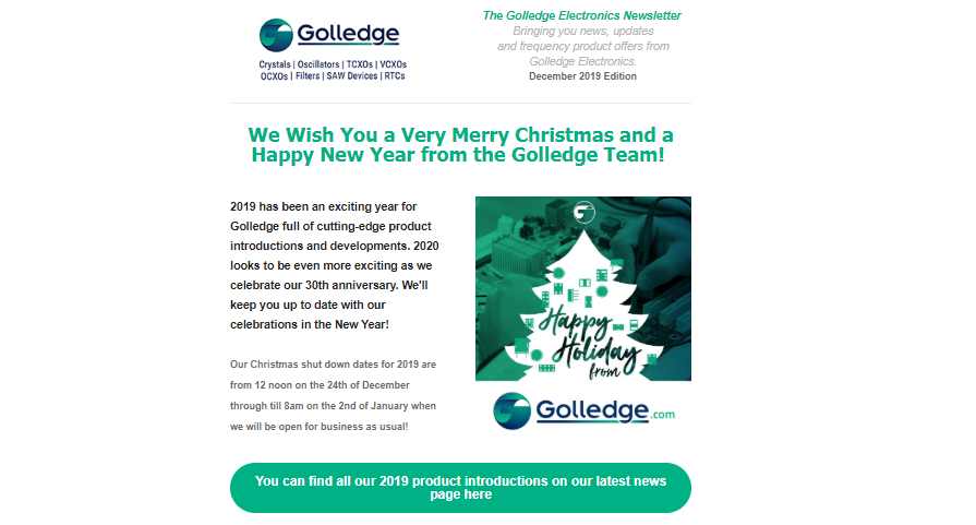 We wish you a very Merry Christmas and a Happy New Year from all the Golledge Team!