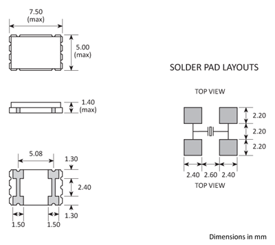 Package footprint and pad configuration drawing for the Golledge GSX-1C Crystal showing full dimensions.