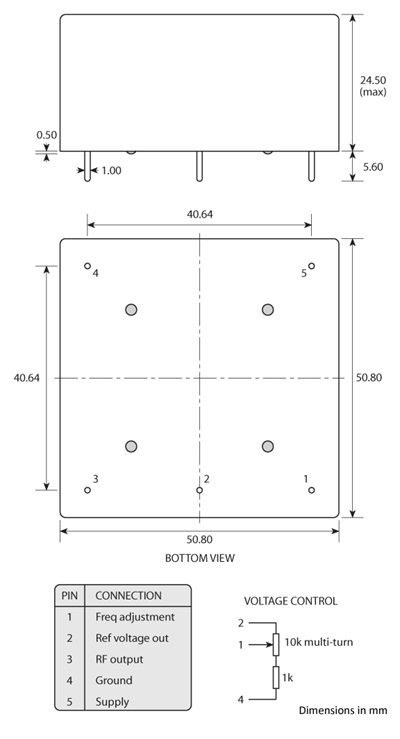 Package footprint and pad configuration drawing for the Golledge HCD 51x51 OCXO showing full dimensions.