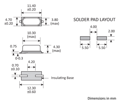 Package footprint and pad configuration drawing for the Golledge GSX49-4 Crystal showing full dimensions.