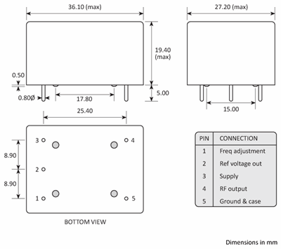 Package footprint and pad configuration drawing for the Golledge HCD300 series OCXOs showing full dimensions.