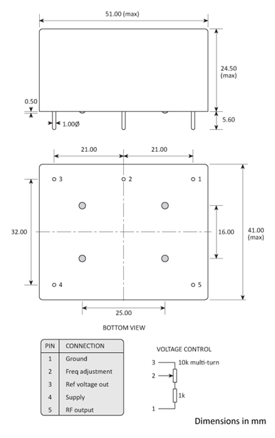 Package footprint and pad configuration drawing for the Golledge HCD660 series OCXOs.