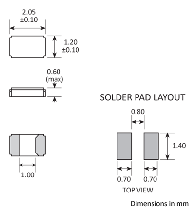 Package footprint and pad configuration drawing for the Golledge GWX-2012 Crystal showing full dimensions.