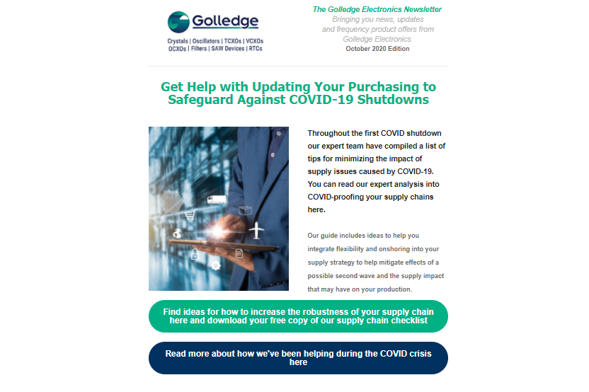 Featuring our most competitive product highlights and ways to get help with COVID-proofing your supply chain with our checklist of tips to help minimise the impact of COVID-19 on your manufacturing.