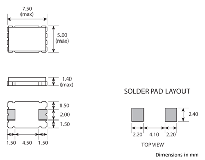 Package footprint and pad configuration drawing for the Golledge GSX-1A Crystal showing full dimensions.