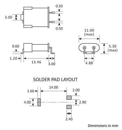 Package footprint and pad configuration drawing for the Golledge HC49J Crystal showing full dimensions.