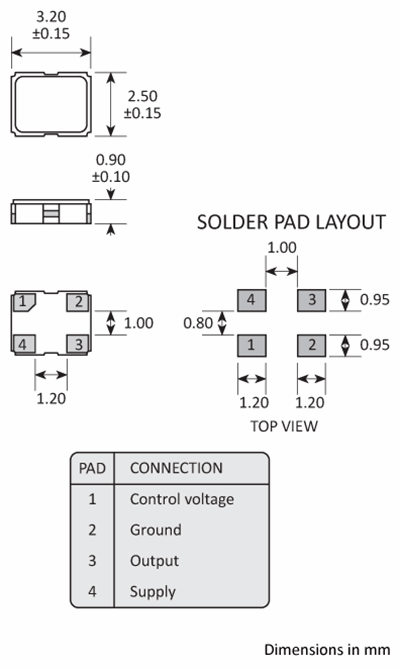 Package footprint and pad configuration drawing for the Golledge GVXO-331L VCXO showing full dimensions.