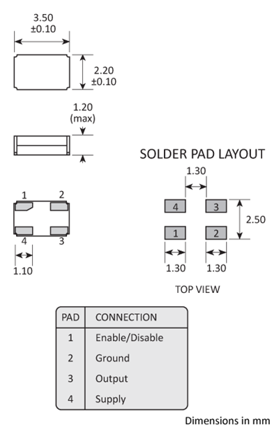 Package footprint and pad configuration drawing for a 3.5 x 2.2 x 1.2mm Golledge Oscillator.