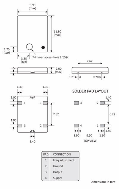 Package footprint and pad configuration drawing for the Golledge GTXO-560V TCXO showing full dimensions.