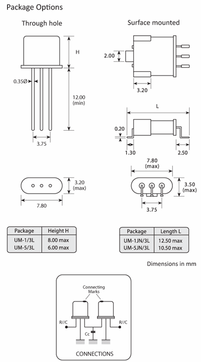 Package footprint and configuration drawing for 2-unit UM-1 and UM-5 Crystal filters