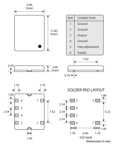 Package footprint and pad configuration drawing for the Golledge 10x12 smd TCXO showing full dimensions.