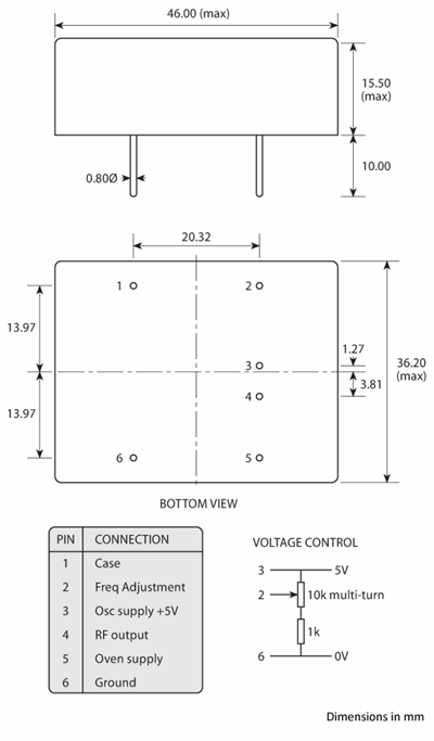 Package footprint and pad configuration drawing for the Golledge HCD 46x36 OCXO showing full dimensions.