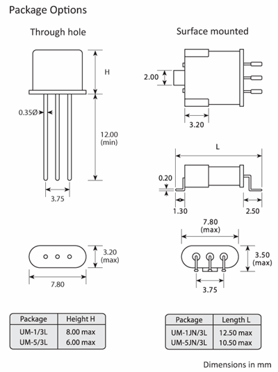 Package footprint and configuration drawing for UM-1 and UM-5 Crystal filters showing SMD options