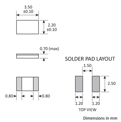 Package footprint and pad configuration drawing for the Golledge CC6 Crystal showing full dimensions.