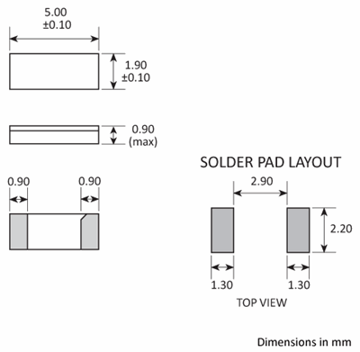 Package footprint and pad configuration drawing for the Golledge CC4V-T1A Crystal showing full dimensions.
