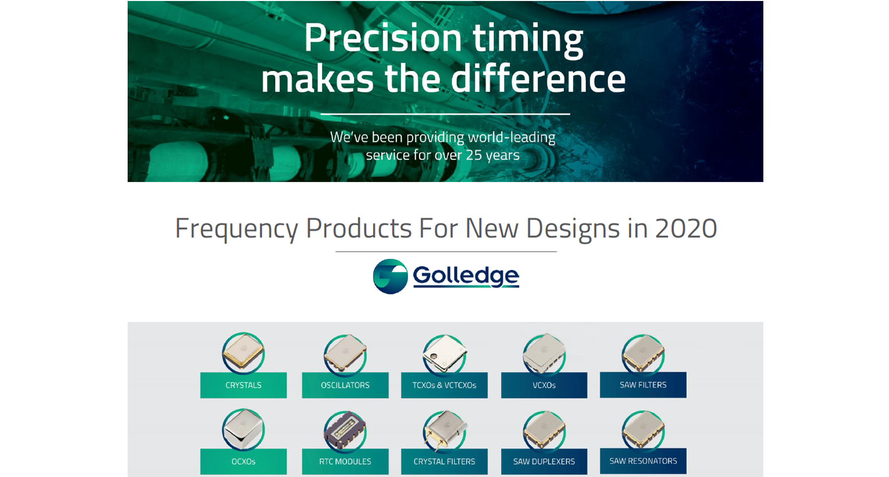 Golledge Electronics are proud to announce the update and release of their Frequency Products for New Designs Catalogue for 2020.
