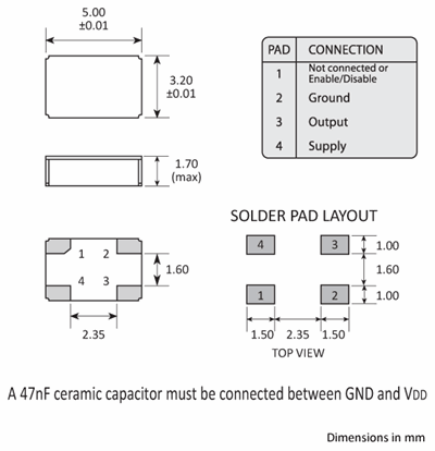 Package footprint and pad configuration drawing for a Golledge 5032 MCSO2 series oscillator.