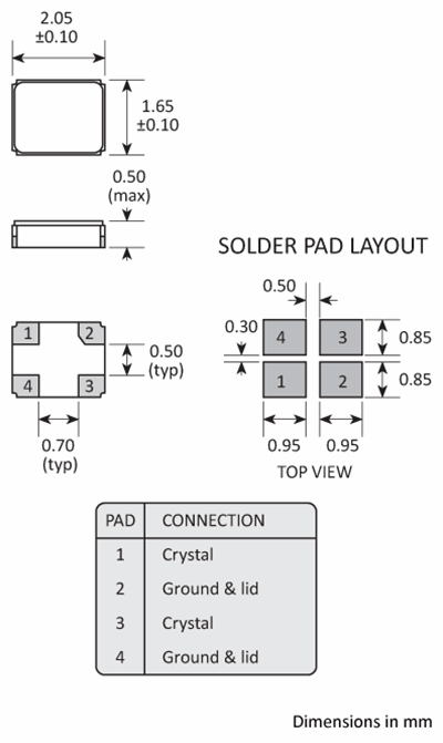 Package footprint and pad configuration drawing for the Golledge GSX-223 Crystal showing full dimensions.