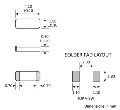 Package footprint and pad configuration drawing for the Golledge CC5V-T1A Crystal showing full dimensions.